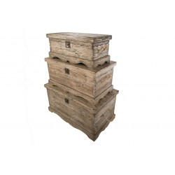 Set of 3 Chests in natural weathered Pine