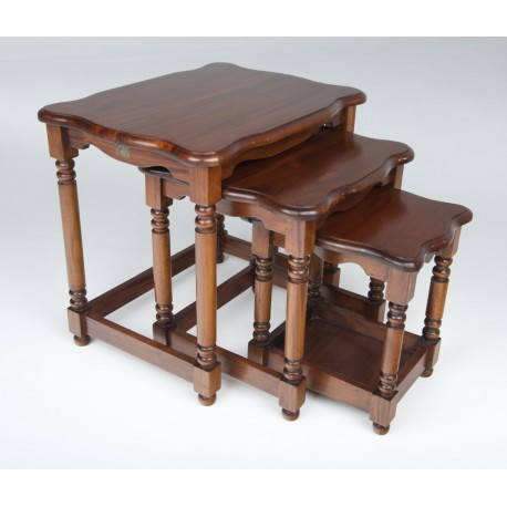 Solid Mahogany 3 Table Nest of Tables with turned legs and curved top