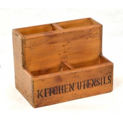 Kitchen Utensils Storage Box made from solid wood with four compartments and kitchen utensils stenciled on the front