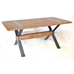 Rectangular dining table with solid mango wood top and braced metal legs in a crossed leg design