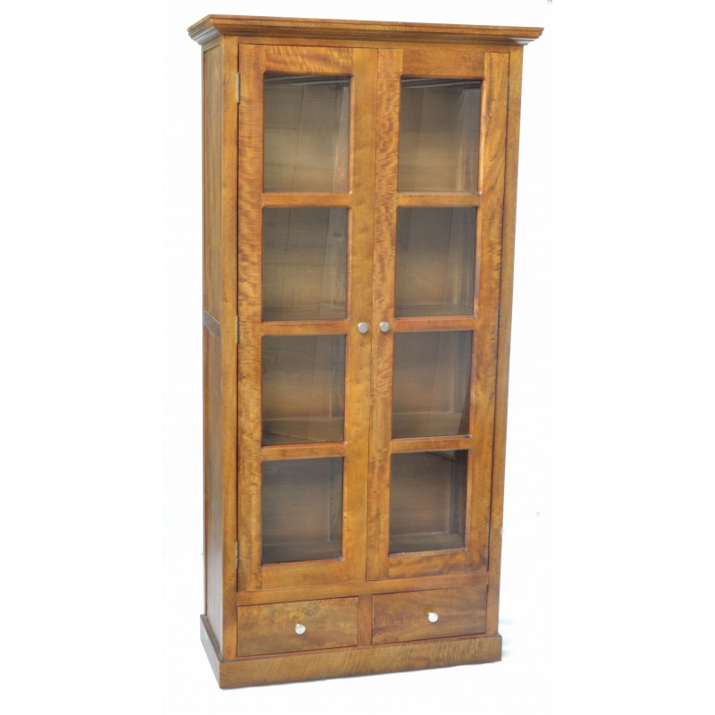 Solid Mango Wood Bookcase Style Cabinet With 2 Doors With Glass Panels And  2 Low Drawers. Loading Zoom
