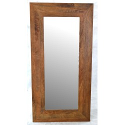 Solid mango wood mirror with hanging portrait and landscape hangers