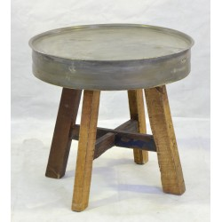 Restoration Oil Drum Coffee Table with Wooden Legs