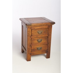 Rustic 3 drawer bedside or side cabinet with brass decorative handles and country rustic finish made from mango wood