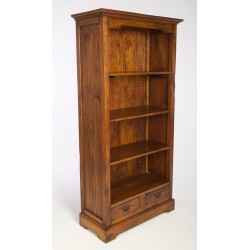 Country rustic style bookcase with three shevles and low drawers made from solid mango wood