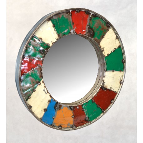 Round metal frame mirror made from recycled oil drums with multiple colours on the frame