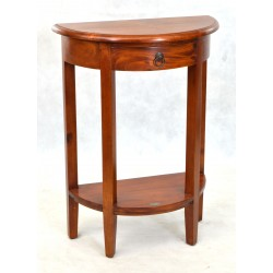 Half round or smi circular hall table made from solid mahogany with a single drawer and low shelf