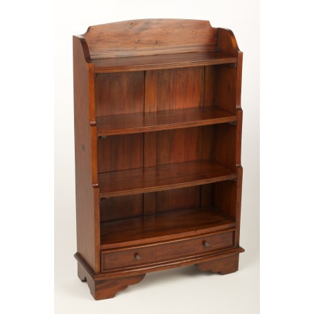 Mahogany bookcase with shelves in increasing depth in a waterfall style finished in a traditional polished finish