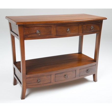 Two tier console table with 6 drawers with a modern curved style and traditional polished finish