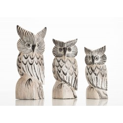 Set of 3 Small Wooden Owls painted white and black with a large, medium and small owl