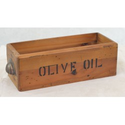 Vintage Olive Oil Storage Box made from solid wood with scalloped handles