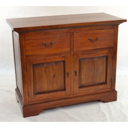 Solid mahogany small sideboard with 2 large drawers and two door cupboard finished in a traditional polish