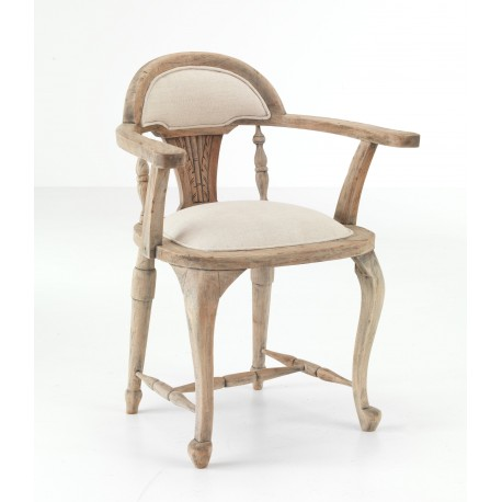 Solid wood bistro chair with a natural wood finish and beige cushioned seat and back