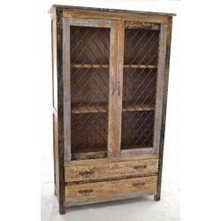 Bookcase cabinet with fixed shelves and two drawers with a distressed painted finish and wire mesh doors