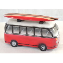 Wooden ornament depicting a Red Camper Van with Surfboard on the roof