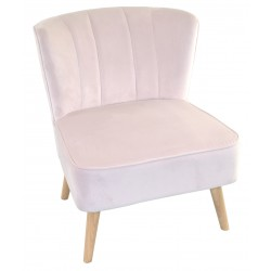 Cherry Blossom or Blush Pink velvet covered accent chair or bedroom chair with wooden legs