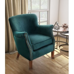 Teal Velvet small armchair with a solid wood frame under the soft velvet upholstery