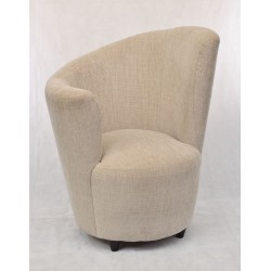 High right comfy chair with a unique curved design in classic tweed style fabric and small simple black feet