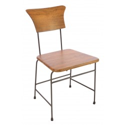 Dining chair with steel tube frame and solid mango wood back rest and seat in a tallow colour