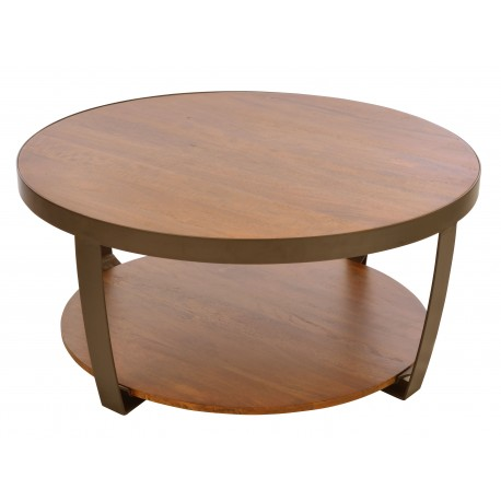 Small round coffee table with low shelf made from solid mango wood and a steel frame