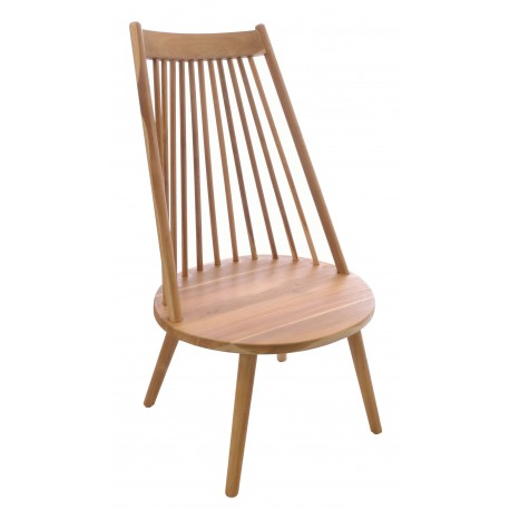 Solid teak tall back chair with slatted back and light wood finish