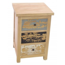 Piccadilly 3 Drawer Bedside with knob handles and distressed painted finishdrawer fronts and natural finish case