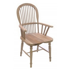 Solid wood Windsor Chair with a bentwood continuous arm in a stripped wood finish