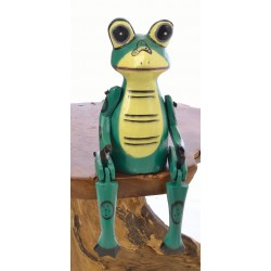 Wooden Sitting Green Frog with articulated arms and legs designed to sit on the edge of a shelf
