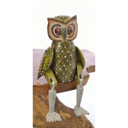Wooden Sitting Ginger Owl with articulated arms and legs designed to sit on the edge of a shelf