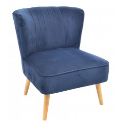 Navy Blue velvet covered accent chair or bedroom chair with wooden legs
