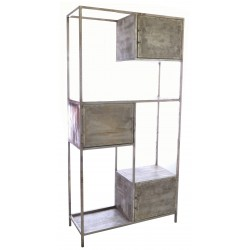 Industrial style shelving and display unit with three cupboards in a step design
