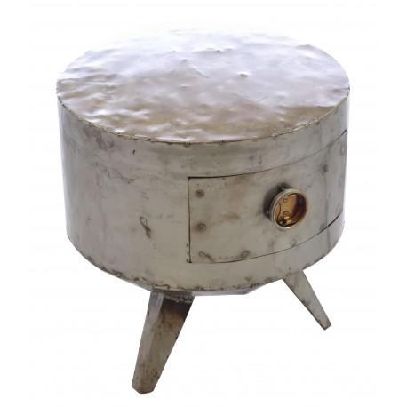 Recycled oil drum round lamp table on three angled legs with a single drawer with oil drum cap handle in a plain steel finish