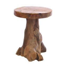 Lamp Table made from teak root with a round top and using the natural shape of the wood to complete the style of table finished