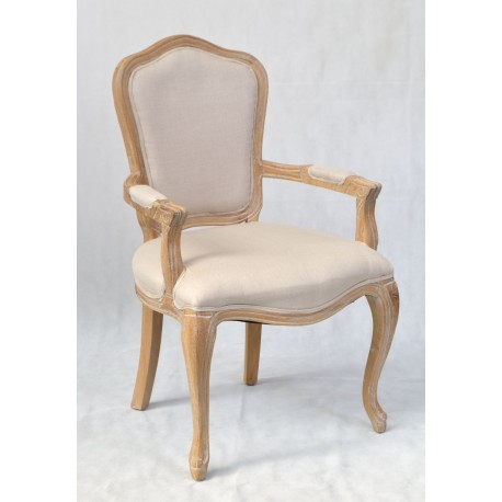French Style Carver Dining Chair with cabriole front legs and detail carving over the frame, finished in light colour finish