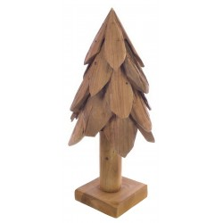 Solid wood christmas tree made with flat pieces of wood in a rustic style