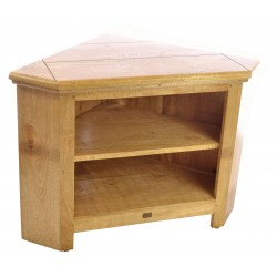 Solid Mango Wood Corner TV Unit with two shelves made in a rustic style with a light wood finish