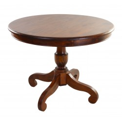 Solid mahogany round dining table with four legged turned pedestal and a deep traditional polished finish