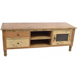 Solid wood TV Unit with two drawers, two dvd shelves and cupboard in a ditressed painted and natural wood shabby chic finish