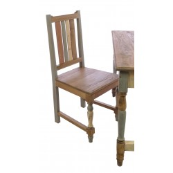 Solid wood office chair or dining chair with a slat back in a distressed painted and natural wood shabby chic finish