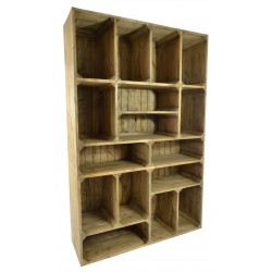 Solid pine display unit with a rustic industrial design in a natural wood finish