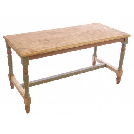 Solid wood coffee table with a distressed painted and natural wood shabby chic finish