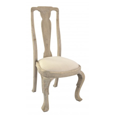 Vintage style solid wood dining chair with linen upholstered seat in a stripped back wood finish