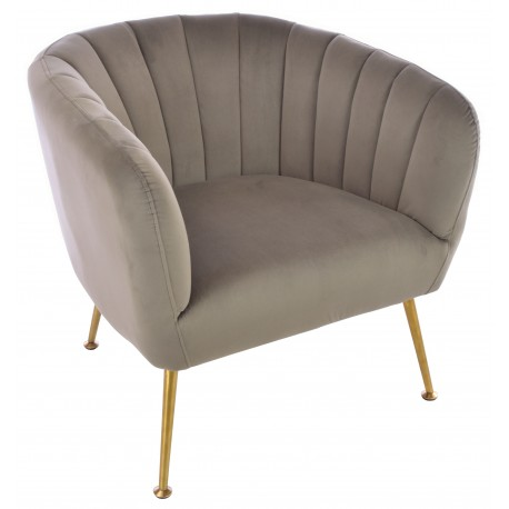 Velvet tub chair in Grey with brass coloured tapered legs