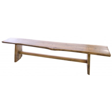 Solid wood long bench with slid panel legs and bracing bar finished in a polished finish