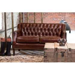 Vintage Leather Sofa, a brown leather 2 seater sofa with a button back and simple straight legs