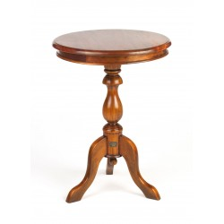 Solid Mahogany round wine table or occasional table with turned stem and three curved feet in a dark polish