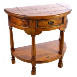 Solid Mango Wood half round console with single drawer and low down shelf on turned legs with deep honey coloured finish