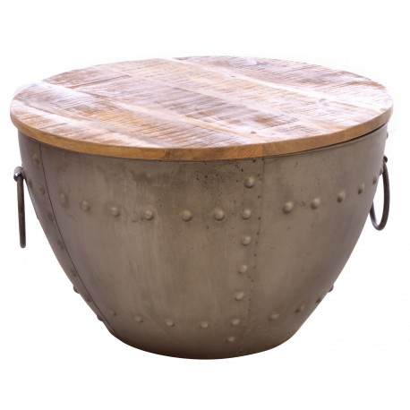 Round metal coffee table with a removable solid mango wood top in a rustic finish