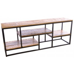 Steel open sideboard with solid mango wood shelves and top with rustic finish