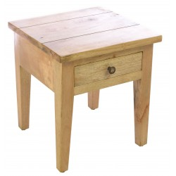 Solid mango wood single drawer lamp table in a light wood finish with a modern straight cut design